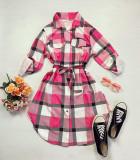 Cumpara ieftin Rochie ieftina casual stil camasa roz fuchsia cu gri si alb cu carouri si cordon in talie