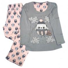 Pijama de Dama din Bumbac,Culoare Gri deschis/Roz pal