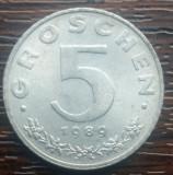 (M10) MONEDA AUSTRIA - 5 GROSCHEN 1989, STARE FOARTE BUNA, LUCIU DE BATERE, AUNC