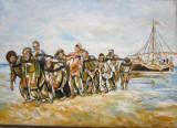 Tablou Edecarii de pe Volga dupa Ilia Repin semnat Cimpoesu