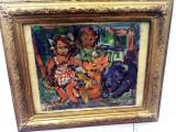 Cumpara ieftin Tablou semnat indescifrabil stilul lui Ion Tuculescu, Portrete, Ulei, Impresionism