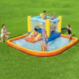 Cumpara ieftin Centru de joaca cu piscina, trambulina si tobogan, gonflabil, 365x340 cm, ProCart