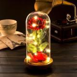 Cupola de sticla cu trandafir artificial, Led, 22×11.4 cm, Gonga