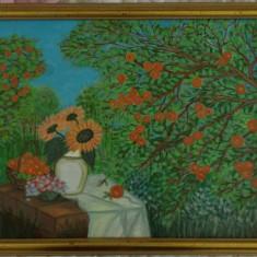 """TABLOU UNICAT CULORI ACRILICE, """" LIVADA CU MERI"""", 44X34 cm, Peisaje, Acrilic, Miniatural"""