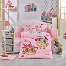 Lenjerie Pătuț Bebe - Bumbac 100% - Hobby Home - CoolBaby Pink - HBB-04