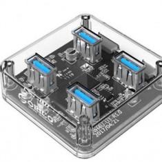 Hub USB Orico MH4U, 4 x USB 3.0 (Transparent)