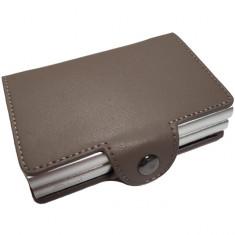 Portofel unisex, port card dublu iUni P3, RFID, 2 Compartimente 6 carduri, Bej inchis