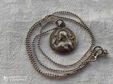 MEDALION argint ISUS HRISTOS si FECIOARA MARIA cu PRUNCUL CU 2 fete +Lant argint