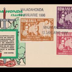 1996 Exil Romania - Plic comemorare 59 ani Majadahonda, legionari Mota si Marin