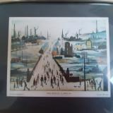 L. S. Lowry - Canal Bridge (print, 35/30 cm cu rama)