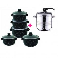 Pachet Vase pentru Gătit - Set 5 Cratițe Emailate + Oală sub Presiune 9 litri