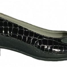 Pantofi dama casual din piele lacuita de culoare neagra Ninna Art 234