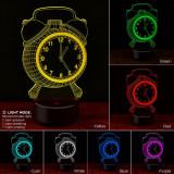 Lampa 3D LED forma ceas, 7 culori, control touch, 2 moduri iluminare