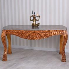 Masa din lemn masiv cu decoratiuni si blat din marmura CAT186