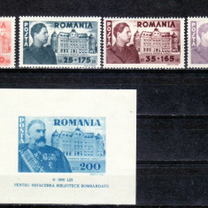 Romania  1945  Fundatia  CAROL I    serie +colita