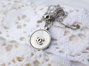 argint CHANEL set INEL, MEDALION si LANT brand de LUX FRANTA elegant DE EFECT