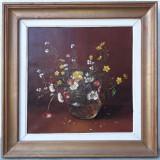 """Natura statica cu flori """"Panselute"""", pictura veche, ulei/panza Doina Suciu Savu, Realism"""