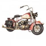 Macheta Motocicleta Retro din metal rosu 42 cm x 17 cm x 24 h, Clayre & Eef