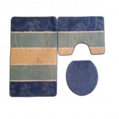 Set covorase baie 3 piese Lisa ZLN-1251, dimensiune 100x60 cm, 100% polipropilena, strat antiaderent latex, bleu - ZLN1251