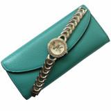 Cumpara ieftin Pachet portofel elegant de dama cu suport detasabil verde + ceas elegant de dama Shine Crystal bratara metalica, argintiu