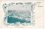 # 2435- Romania, Galati salutari , c.p. stilizata clasica UPU necirc: Panorama