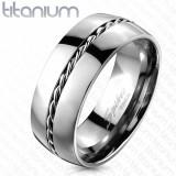 Inel din titan - inel argintiu, fir răsucit în mijloc - Marime inel: 62