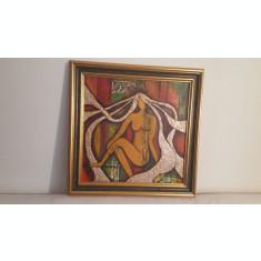 "PICTURA-TABLOU MODERN, UNICAT, ""METALLIC HAIR"" , 65x55cm, PICTOR ROMAN CONSACRAT"