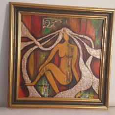 "PICTURA-TABLOU MODERN, UNICAT, ""METALLIC HAIR"" , 65x55cm, PICTOR ROMAN CONSACRAT, Abstract, Ulei"