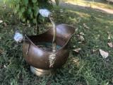 Jardiniera recipient,vas vechi francez,din cupru,manere din portelan