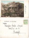 Muntii Fagaras 1901 - Lacul Podragul, ilustrata litho