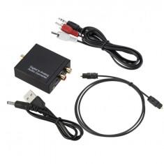 Adaptor convertor semnal audio digital optic sau COAX la RCA L+R si jack 3.5 mm.