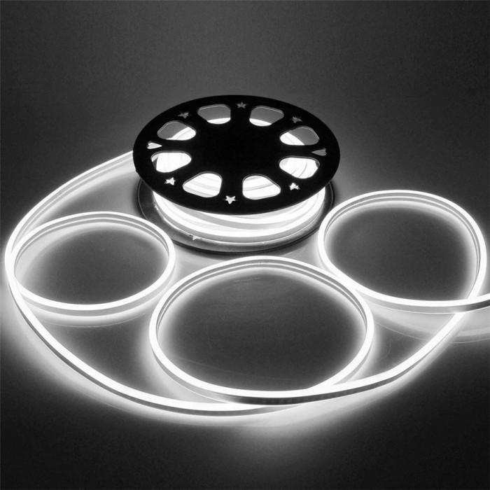 Furtun iluminat LED alb rece, flexibil, diametru 1 cm, alimentare retea