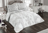 Cumpara ieftin Cuvertură de pat Valentini Bianco Piquet, model Fiore Gri