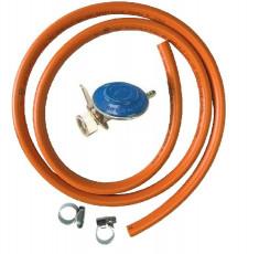 Set (kit) regulator presiune (ceas) pentru butelii cu gaz + furtun 2 m + 2 coliere Autentic HomeTV foto
