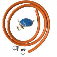 Set (kit) regulator presiune (ceas) pentru butelii cu gaz + furtun 2 m + 2...