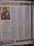 Calendar religios vechi Colectie,Calendar crestin ortodox de perete 2002,T.GRAT