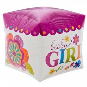 Balon Cubez 3D Baby Girl din folie 38 x 38 cm