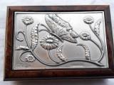CUTIE BIJUTERII cu argint SEMNATA marcata din LEMN MAHON splendida ITALIA veche
