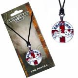 Colier din șnur cu pandantiv - steagul englez cu un leu