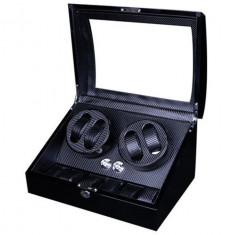 Cutie pentru intors ceasuri automatice iUni, Watch Winder 4 + 6 spatii depozitare Carbon