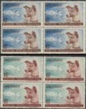 1957 Romania - Catelusa Laika in Cosmos, blocuri de 4 timbre LP 447 MNH, Caini, Nestampilat