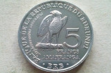MONEDA 5 FRANCI 2014-BURUNDI (Stephanoaetus coronatus)