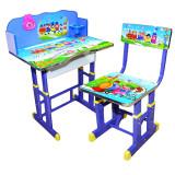 Set birou si scaunel reglabile MDF si metal albastru
