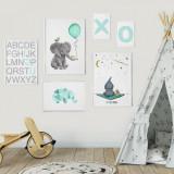 Cumpara ieftin Set 6 tablouri decorative Elefant, Heinner