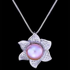 Colier din Argint 925 cu Perla Naturala si Diamante, Sunflower Purple