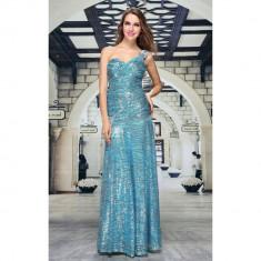 Rochie deosebit de eleganta, lunga, decorata cu paiete turcoaz, L
