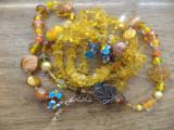 Colier sticla manuala, perle sticla, ochi de pisica, Murano si cupru