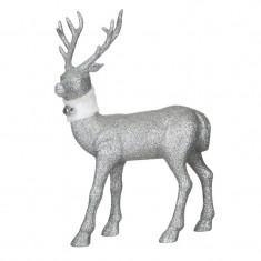 Ren decorativ de Craciun, 32 cm, Argintiu