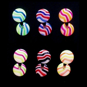 Piercing limbă - valuri colorate - Culoare Piercing: Roz - Verde