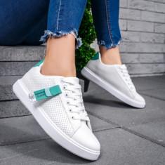 Pantofi dama sport perforati albi cu turcoaz Galodia